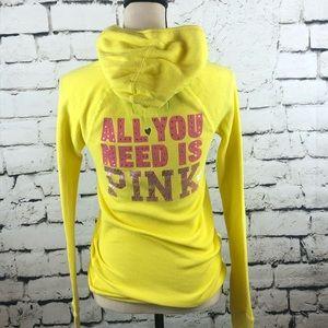 PINK Yellow Thermal Logo Hoodie Size M